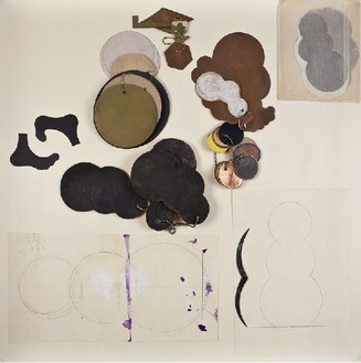 Robert Therrien, No title (Snowman, cloud vitrine), 1985–2001 Copper templates, wood templates, paper, graphite on paper, acrylic on paper, Vitrine: 37 ½ × 37 ¼ × 5 inches (95.2 × 94.6 × 12.7 cm)© Robert Therrien, photo by Josh White