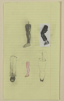 Robert Therrien, No title (Five leg examples), 1993 Graphite and various paper on paper, 9 ½ × 5 ½ inches (24.1 × 14 cm)© Robert Therrien, photo by Josh White