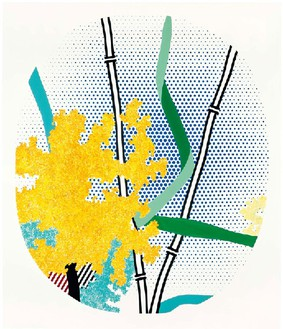Roy Lichtenstein, Flowers with Bamboo, 1996 Oil and Magna on canvas, 77 × 66 inches (195.6 × 167.6 cm)© Estate of Roy Lichtenstein