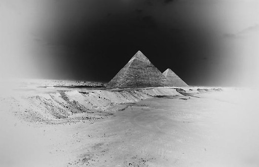 Vera Lutter, Chephren and Cheops Pyramids, Giza: April 12, 2010, 2010 Unique Silver Gelatin Print, 14 ⅜ × 21 ⅛ inches, (36.5 × 53.7cm)