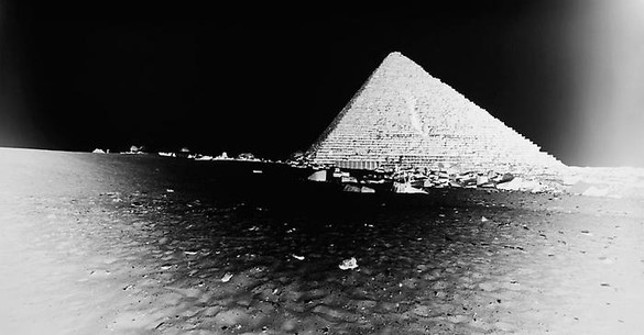 Vera Lutter, Mycenius Pyramid, Giza: April 13, 2010, 2010 Unique Silver Gelatin Print, 14 7/16 × 27 ⅜ inches, (36.7 × 69.5cm)