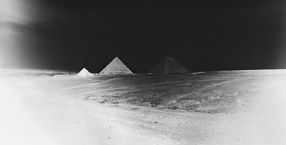 Vera Lutter, Giza Plateau: April 22, 2010, 2010 Unique Silver Gelatin Print, 12 ⅛ × 24 inches, (30.8 × 61cm)
