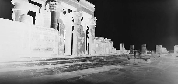 Vera Lutter, Kom Ombo Temple: January 26, 2010, 2010 Unique Silver Gelatin Print, 12 ½ × 25 ¾ inches, (31.8 × 65.4cm)