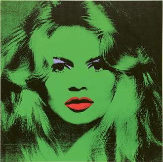 Andy Warhol, Brigitte Bardot, 1974 Acrylic, silkscreen ink and pencil on linen, 47 ¼ × 47 ¼ inches (120 × 120 cm)Photo by Mike Bruce