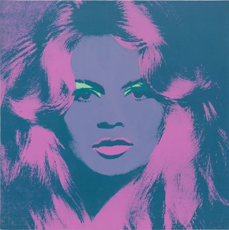 Andy Warhol, Brigitte Bardot, 1974 Acrylic, silkscreen ink and pencil on linen, 47 ¼ × 47 ¼ inches (120 × 120 cm)