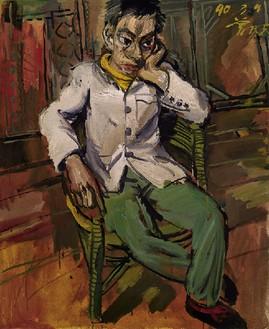 Zeng Fanzhi, A Man in Melancholy, 1990 Oil on canvas, 43 ¼ × 35 ⅜ inches (110 × 90 cm)© Zeng Fanzhi Studio