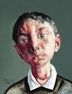 Zeng Fanzhi, Portrait 09-7-1, 2009 Oil on canvas, 17 ⅜ × 13 ⅜ inches (44 × 34 cm)© Zeng Fanzhi Studio