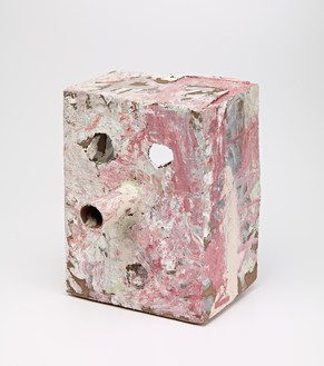 Mark Grotjahn, Untitled (Pink White Mask M17.e), 2012 Painted bronze, 14 × 10 ¾ × 12 inches (35.6 × 27.3 × 30.5 cm)© Mark Grotjahn