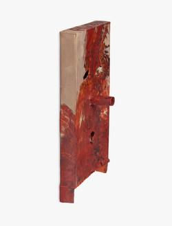 Mark Grotjahn, Untitled (Brown, Orange, Black 3.6.12 FK2 Mask M8.g), 2012 Painted bronze, 30 × 15 ¾ × 6 ¾ inches (76.2 × 40 × 17.1 cm)© Mark Grotjahn