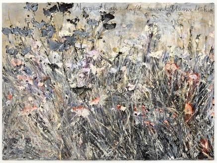 Anselm Kiefer, Morgenthau: laßt tausend Blumen blühen (Morgenthau: Let a thousand flowers bloom), 2012 Oil, emulsion, and acrylic on photograph on canvas, 110 ¼ × 149 ⅝ inches (280 × 380 cm)© Anselm Kiefer