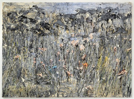 Anselm Kiefer, Fadensonnen: es sind noch Lieden zu singen jenseits der Menchen (Threadsuns: there are still songs to sing beyond mankind), 2012 Oil, emulsion, and acrylic on photograph on canvas, 110 ¼ × 149 ⅝ inches (280 × 380 cm)© Anselm Kiefer