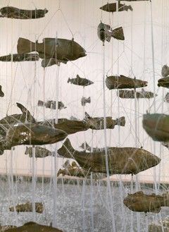 Bruce Nauman, One Hundred Fish Fountain, 2005 (detail) Ninety-seven bronze fish of seven different forms, suspended with stainless steel wire from a metal grid, Installation: 300 × 336 inches (762 × 853.4 cm)