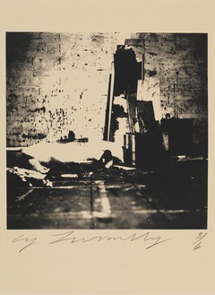 Cy Twombly, Robert Rauschenberg Combine Material Fulton St. Studio, 1954 Color dry-print, 15 ⅞ × 11 inches (40.3 × 27.9 cm), edition 1/6© Nicola Del Roscio Foundation
