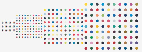 Damien Hirst, Untitled (Nick, Margot, Chris, India), 1999 Household gloss on canvas, in 4 parts, 17 × 19 inches (44 × 49 cm), 34 × 38 inches (87 × 97 cm), 51 × 57 inches (131 × 145 cm), and 67 × 75 inches (172 × 193 cm)© Damien Hirst and Science Ltd. All rights reserved, DACS 2012