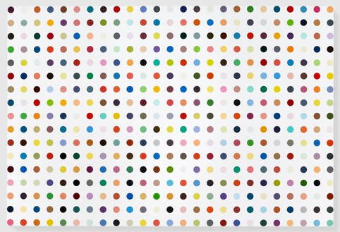 Damien Hirst, Isonicotinic Acid Ethyl Ester, 2010–11 Household gloss on canvas, 99 × 147 inches (251.5 × 373.4 cm)© Damien Hirst and Science Ltd. All rights reserved, DACS 2012