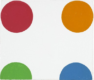 Damien Hirst, Bromchlorophenol Blue, 1996 Household gloss on canvas, 2 ½ × 3 inches (6.4 × 7.6 cm)© Damien Hirst and Science Ltd. All rights reserved, DACS 2012