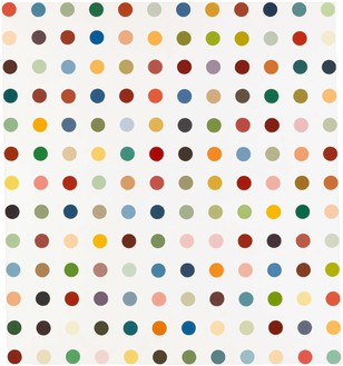 Damien Hirst, Methoxyverapamil, 1991 Household gloss on canvas, 75 × 69 inches (190.5 × 175.3 cm)© Damien Hirst and Science Ltd. All rights reserved, DACS 2020
