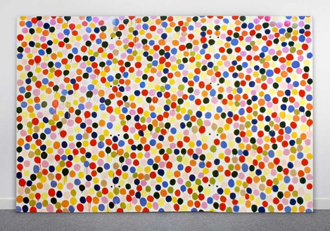 Damien Hirst, Spot Painting, 1986 Household gloss on canvas, 96 × 144 inches (243.8 × 365.8 cm)© Damien Hirst and Science Ltd. All rights reserved, DACS 2020