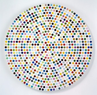 Damien Hirst, Zirconyl Chloride, 2008 Household gloss on canvas, diameter: 84 inches (213.4 cm)© Damien Hirst and Science Ltd. All rights reserved, DACS 2012