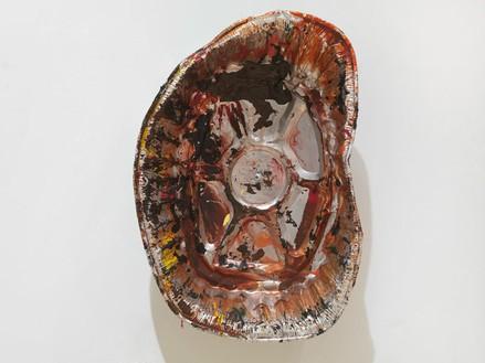 Dan Colen, Aluminum tray, 2011 Mixed media, Dimensions variable