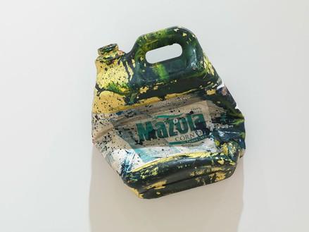 Dan Colen, Corn oil bottle, 2011 Mixed media, Dimensions variable