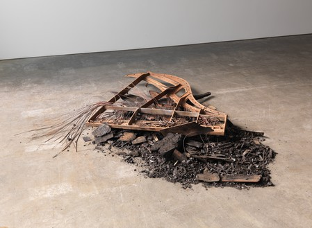 Douglas Gordon, Burned Baby Grand, 2012  Burned baby grand piano, dimensions variable© Studio lost but found/VG Bild-Kunst, Bonn. Photo: Rob McKeever