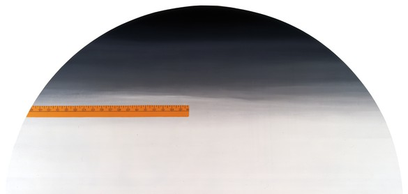 Ed Ruscha, Yardsick (left), Yardstick (right), 1987 (detail) Acrylic on canvas, in 2 parts, each: 66 × 137 inches (167.6 × 348 cm)© Ed Ruscha. Photo: Paul Ruscha