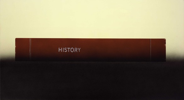 Ed Ruscha, History Book Laying on a Table, 2012 Acrylic on canvas, 26 ⅛ × 48 inches (66.4 × 121.9 cm)© Ed Ruscha. Photo: Paul Ruscha