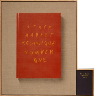 Ed Ruscha, Stock Market Technique, Numbers 1 & 2, 2002 Acrylic on raw linen with book, 30 ⅞ × 30 ⅜ inches (78.4 × 77.2 cm)© Ed Ruscha. Photo: Paul Ruscha
