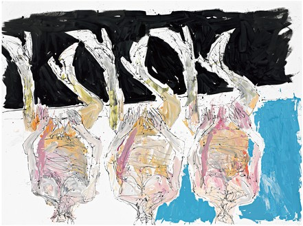 Georg Baselitz, Rechts oder links herum? (Right or Left Turn?), 2011 Oil on canvas, 118 ⅛ × 157 ½ inches (300 × 400 cm)© Georg Baselitz