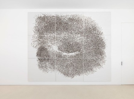 Giuseppe Penone, Contatto—occhio sinistro di R..., 2009 Tempera on canvas, silk, Acacia thorns, 9 panels: 118 ⅛ × 141 11/16 × 3 ½ inches overall (300 × 360 cm)Photo by Mike Bruce