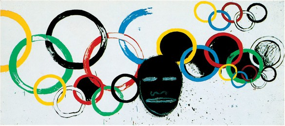 Jean-Michel Basquiat & Andy Warhol, Olympic Rings, 1985 Acrylic and silkscreen on canvas, 81 ⅛ × 183 ½ inches (206 × 466 cm)© 2012 The Estate of Jean-Michel Basquiat/ADAGP, Paris/ARS, New York;, © 2012 The Andy Warhol Foundation for the Visual Arts, Inc./ARS, New York