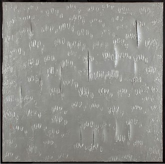 Lucio Fontana, Concetto spaziale, Notte d'Amore a Venezia, 1961 Acrylic on canvas, 59 × 59 inches (149.9 × 149.9 cm)© Courtesy of the Fondazione Lucio Fontana. Private collection