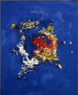 Lucio Fontana, Concetto spaziale, 1955 Oil and glass on canvas, 37 ⅞ × 25 ½ inches (96.2 × 64.8 cm)© Fondazione Lucio Fontana. Courtesy FaMa Gallery, Verona