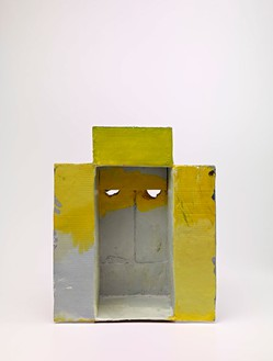 Mark Grotjahn, Untitled (Through the Sky and Yellow Mask M11.b), 2012  Painted bronze, 22 × 17 ½ × 13 inches (55.9 × 44.4 × 33 cm)© Mark Grotjahn