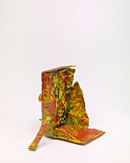 Mark Grotjahn, Untitled (Red and Yellow Hanging Leg Mask M10.c), 2012  Painted bronze, 14 ¾ × 20 ½ × 14 ¾ inches (37.5 × 52.1 × 37.5 cm)© Mark Grotjahn