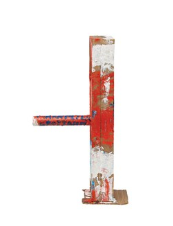 Mark Grotjahn, Untitled (TBD Mask M12.e), 2012  Painted bronze, 29 ¾ × 7 ¾ × 17 ⅜ inches (75.6 × 19.7 × 44.1 cm)© Mark Grotjahn