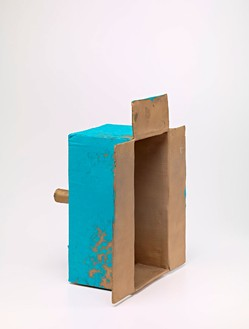 Mark Grotjahn, Untitled (Fingered and Rubbed Turquoise Mask M11.d), 2012  Painted bronze, 22 × 17 ½ × 13 inches (55.9 × 44.4 × 33 cm)© Mark Grotjahn