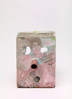 Mark Grotjahn, Untitled (French Grey Pink Mask M17.a), 2012  Painted bronze, 14 × 10 ¾ × 12 inches (35.6 × 27.3 × 30.5 cm)© Mark Grotjahn