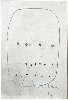 Lucio Fontana, Concetto spaziale, 1959 Pens on perforated silver foil mounted on gold foil backing, 4 ½ × 3 ⅝ inches (11.4 × 9.2 cm)© Fondazione Lucio Fontana/ADAGP, Paris 2012