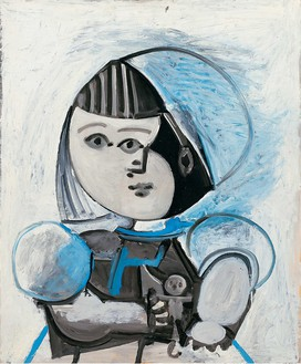 Pablo Picasso, Paloma et sa poupée, 1952 Oil on plywood, 28 ¾ × 23 ½ inches (73 × 60 cm)© 2020 Pablo Picasso/Artists Rights Society (ARS), New York. Photo: Eric Baudouin