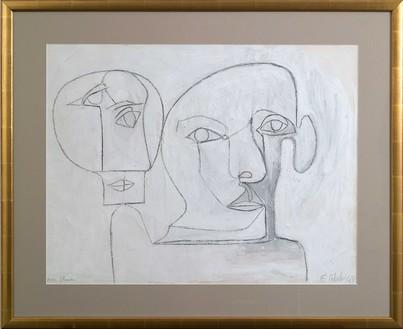 Françoise Gilot, Self-Portrait as an Owl with Pablo, 1948 Pencil and gouache on paper, 19 ¾ × 26 inches (50.2 × 66 cm)© Francoise Gilot. Photo: Ali Elai, Camera Arts Inc.