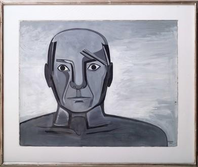 Françoise Gilot, Picasso's Face (Portrait from Memory), 1945 Gouache on paper, 19 ¾ × 26 inches (50.2 × 66 cm)© Francoise Gilot. Photo: Ali Elai, Camera Arts Inc.