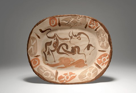 Pablo Picasso, Taureau, 1947 Terracotta, engraved and painted with brown and ocher slips on a white background, 12 ⅝ × 15 × 1 ⅝ inches (32 × 38 × 4 cm)© 2012 Estate of Pablo Picasso/Artists Rights Society (ARS), New York