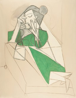 Pablo Picasso, Femme étendue lisant, 1952 Oil on canvas with traces of charcoal, 63 ¾ × 51 ⅛ inches (162 × 130 cm)© 2012 Estate of Pablo Picasso/Artists Rights Society (ARS), New York