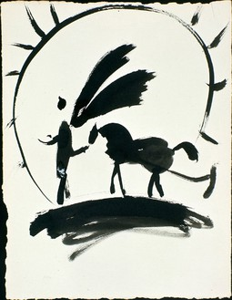 Pablo Picasso, Le Laboureur céleste, c. 1950 India ink on paper, 20 ½ × 13 inches (52 × 33 cm)© 2012 Estate of Pablo Picasso/Artists Rights Society (ARS), New York