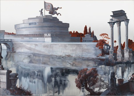 Rachel Feinstein, Panorama of Rome 2012, 2012 Oil enamel on mirror, 7 panels: 47 ⅞ × 469 inches overall (121.6 × 1,191.3 cm)Photo by Rob McKeever