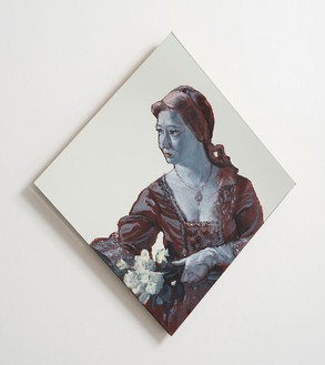 Rachel Feinstein, Girl by Fountain, 2012 Oil enamel on mirror, 26 × 24 inches (66 × 61 cm)
