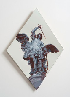 Rachel Feinstein, St. Michael, 2012 Oil enamel on mirror, 31 × 21 ½ inches (78.7 × 54.6 cm)