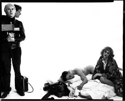 Richard Avedon, Andy Warhol and members of The Factory: Andy Warhol, artist; Paul Morrissey, director; Joe Dallesandro, actor; Candy Darling, actor; New York, May 21, 1969, 1969 Gelatin silver print, 34 × 42 inches (86.3 × 106.6 cm), edition of 3 + 1 AP© The Richard Avedon Foundation